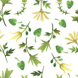 Simple watercolor pattern with leaves. Light floral pattern on a plain white background. stock photos