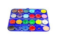 Simple watercolour paints palette. Used vintage Simple set of watercolour paints palette Stock Images