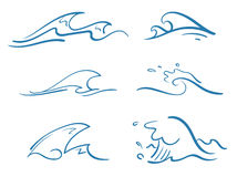 Simple waves vector set Stock Images