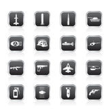 Simple weapon, arms and war icons. Vector icon set Stock Photos