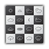 Simple weather icons, black and white flat design Royalty Free Stock Photo
