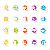 Simple Web Icons 2 (vector). SimpleCons Icon Series Set 2: Simple, colorful round icons with cast shadow. 20 useful website icons with a clean and colorful style Stock Photo