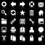 Simple web icons. Simple white web icons on black background Royalty Free Stock Photography