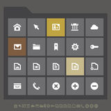 Simple web icons collection, flat gray Royalty Free Stock Photography