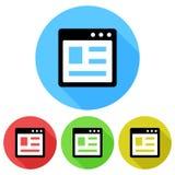 Simple, web page icon circular. Flat icon design. Isolated on white. Simple, web page icon circular. Flat icon design. Isolated on a white background royalty free illustration