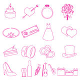 Simple wedding red outline icons set eps10 Stock Photos
