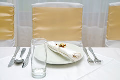 Simple wedding table Stock Photos