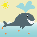 Simple Whale Cartoon Royalty Free Stock Image