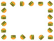 Simple white background design with many tasty burgers royalty free illustration