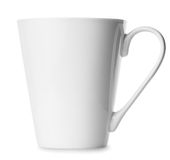 Simple white cup isolated on white background Stock Photo