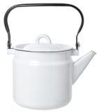 Simple white enameled kettle. Close-up teapot isolated on white background Stock Photo