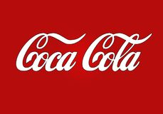 Simple Coca Cola brand logo. Simple white famous Coca Cola product brand logo isolated on a red background royalty free stock photos