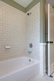 Simple white and green bathroom interior with tile walls and bat. Htub Stock Image
