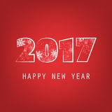Simple White And Red New Year Card, Cover or Background Design Template - 2017 Royalty Free Stock Images
