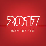 Simple White And Red New Year Card, Cover or Background Design Template - 2017 Royalty Free Stock Photo