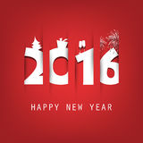Simple White And Red New Year Card, Cover or Background Design Template With Holiday Icons - 2016 Royalty Free Stock Photo
