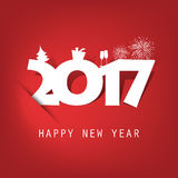 Simple White And Red New Year Card, Cover or Background Design Template With Holiday Icons - 2017 Stock Photography