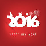 Simple White And Red New Year Card, Cover or Background Design Template With Holiday Icons - 2016 Royalty Free Stock Images