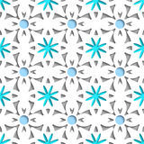Simple white repainting flowers with blue seamless Stock Photo