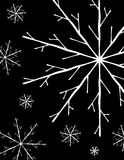 Simple White Snowflakes on Black. A clip art illustration featuring a collection of simple white snowflakes on black background vector illustration