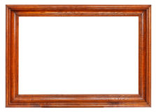Simple wide dark brown wooden picture frame Stock Photo