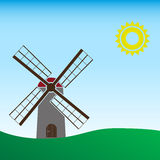Simple wind mill landscape sunny day. Eps10 Stock Images