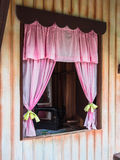 Simple window. With fabric curtain Royalty Free Stock Image
