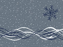 Simple Winter Background. Snowflake and wavy ribbons on snow-covered background Stock Photos