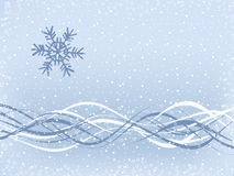 Simple Winter Background. Snowflake and wavy ribbons on snow-covered background Stock Image
