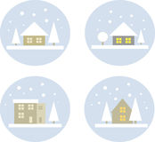 Simple winter landscape icons Royalty Free Stock Images