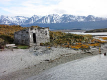 Simple wood cabin - Ushuaia. Simple wood cabin on an island in Ushuaia Royalty Free Stock Image