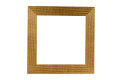 Simple wood frame isolated on white, Clipping path Stock Photography