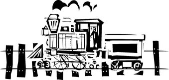 Simple Woodcut Locomotive Royalty Free Stock Photos