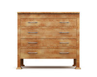 Simple wooden chest of drawers  on white background. 3d. Rendering Stock Photography