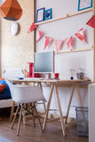 Simple wooden child desk Royalty Free Stock Image