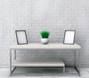 Simple Wooden Cocktail and Coffee Table with Blank Photo Frames. Royalty Free Stock Image