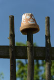Simple wooden Fence with flowerpots Stock Image