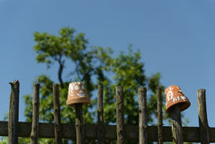 Simple wooden Fence with flowerpots Stock Photography