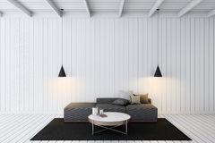 Simple wooden living room 3d rendering. Gray sofa in white wooden room Royalty Free Stock Image