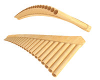 Simple wooden Pan Flute Isolated Royalty Free Stock Photography