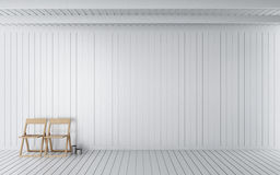 Simple wooden room 3d rendering. White wooden room is clean Stock Photos