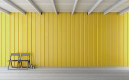 Simple wooden room 3d rendering. Simple wooden room with yellow wall Royalty Free Stock Photography