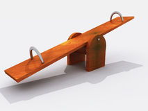 Simple wooden seesaw Royalty Free Stock Photo