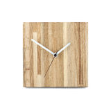 Simple wooden wall watch - Square clock isolated on white backgr Stock Photo