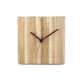 Simple wooden wall watch - Square clock isolated on white backgr Stock Photos