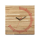 Simple wooden wall watch - Square clock isolated Royalty Free Stock Photography