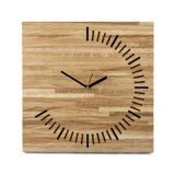 Simple wooden wall watch - Square clock isolated on white Royalty Free Stock Images
