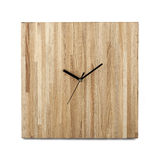Simple wooden wall watch - Square clock on white background Stock Photography
