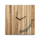 Simple wooden wall watch - Square clock on white Royalty Free Stock Photo