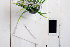 Simple workspace on wooden table Royalty Free Stock Images